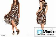 Милое женское  штапельное платье Glorymax Tiger с принтом тигровое