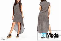 Оригинальное женское платье из штапеля  Glorymax Rhombus Brown с рубашечным воротником и удлиненной спинкой с черными квадратами коричневое