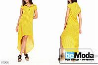 Оригинальное женское платье из штапеля Glorymax Peas Yellow с рубашечным воротником и удлиненной спинкой  в мелкий горох желтое