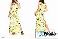"""Яркое женское длинное платье Glorymax Lime White с принтом """"лимоны"""" белое"""