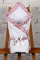 """Конверт-одеяло  """"Ажур"""" на хлопковом подкладе (белый с розовым), фото 1"""