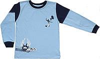Кофта хлопковая мальчику, голубая, рост 104 см, ТМ Фламинго