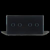 Сенсорный проходной выключатель на 4 канала Livolo   черный, стекло