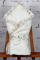 """Демисезонный конверт-одеяло  """"Ажур"""" на хлопковом подкладе (айвори), фото 1"""