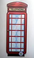 Телефонная будка. Настенная декорация для кабинета английского языка 60х24 см