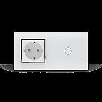 Сенсорный выключатель с розеткой Livolo   белый, стекло