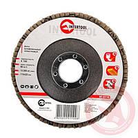 Диск шлифовальный лепестковый 115x22 мм; зерно K100 INTERTOOL BT-0110