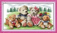 Мишки Тедди Набор для вышивки крестом с печатью на ткани 14ст