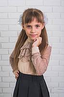 Блузка для девочки с жабо беж, фото 1