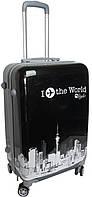 """Малый 4-колесный пластиковый чемодан, ручная кладь 40 л. myStyle """"I fly the world"""" 5291 black, черный"""