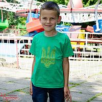 Футболка дитяча Тризуб вишитий зелена, 128