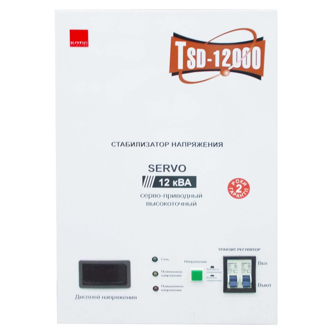 Однофазный сервоприводный стабилизатор напряжения Елтис TSD-12000VA LED настенный