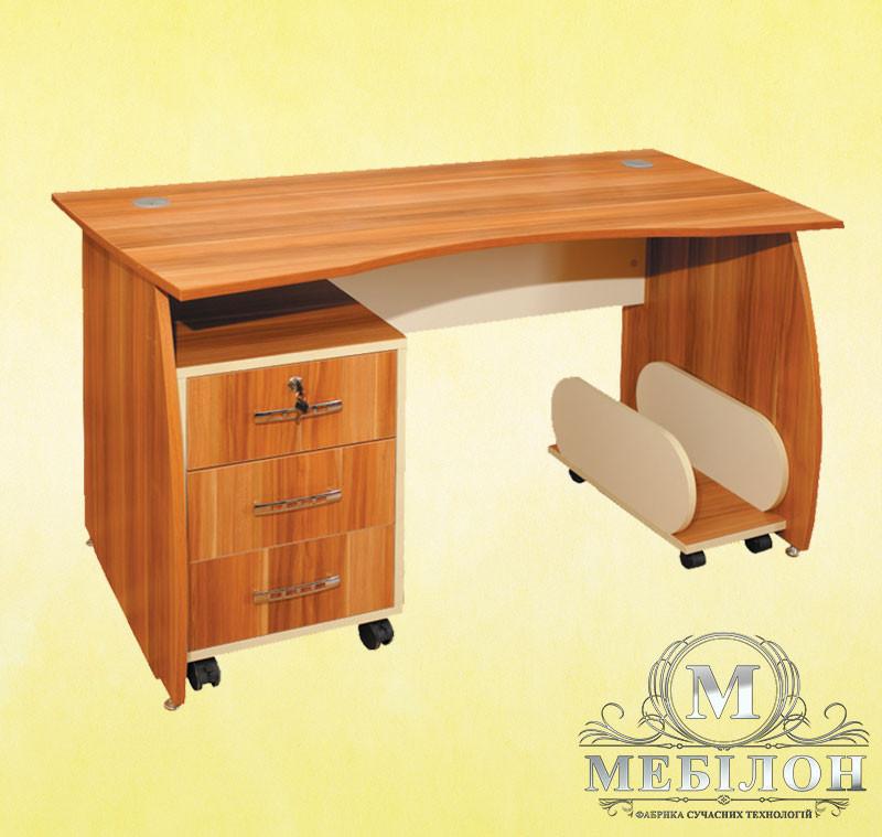 Стол письменный с мобильной тумбой и подставкой под системный блок