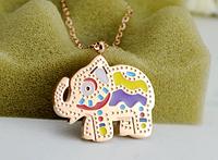 Цепочка с подвеской разноцветный слон