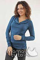 Лонгслив с хомутом для кормящих мам синий джинс-М