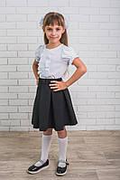 Блузка для девочки с коротким рукавом белая, фото 1