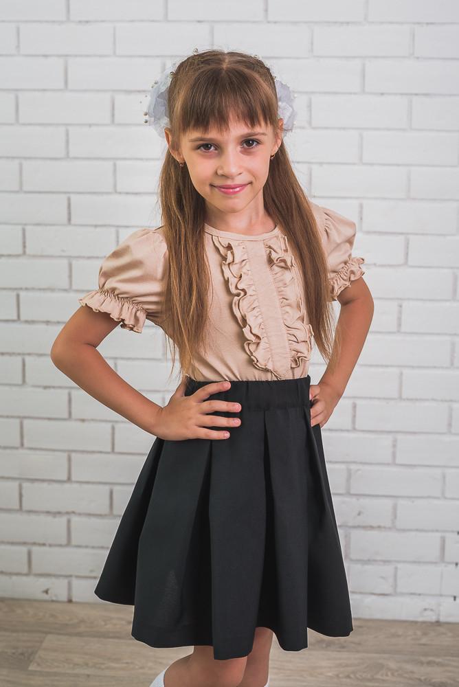 Блузка для девочки с коротким рукавом беж