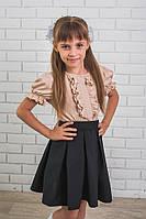 Блузка для девочки с коротким рукавом беж, фото 1
