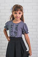 Блузка для девочки с коротким рукавом серая, фото 1