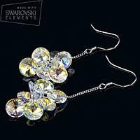 R8-0004 - Блистательные серьги родий с кристаллами Swarovski Rivoli Aurore Boreale