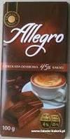 Черный шоколад Allegro «Dark Chocolate» 45 % какао, 100 г