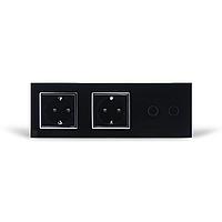 Сенсорный выключатель на две линии с двумя розетками Livolo   черный, стекло
