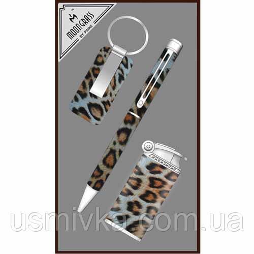 Набор подарочный шариковая ручка, брелок металлический, зажигалка.