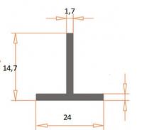 Т образный профиль алюминиевый  ПАС-1840 24х14,7х1,7 / AS