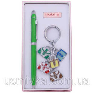 Набор для не курящих: шариковая ручка и брелок.