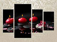"""Модульная картина """"Жемчуг, камни, свечи на черном фоне"""""""
