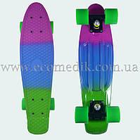 """Стильный скейтборд пенни борд фиолетово-сине-зеленый penny board original 22"""""""