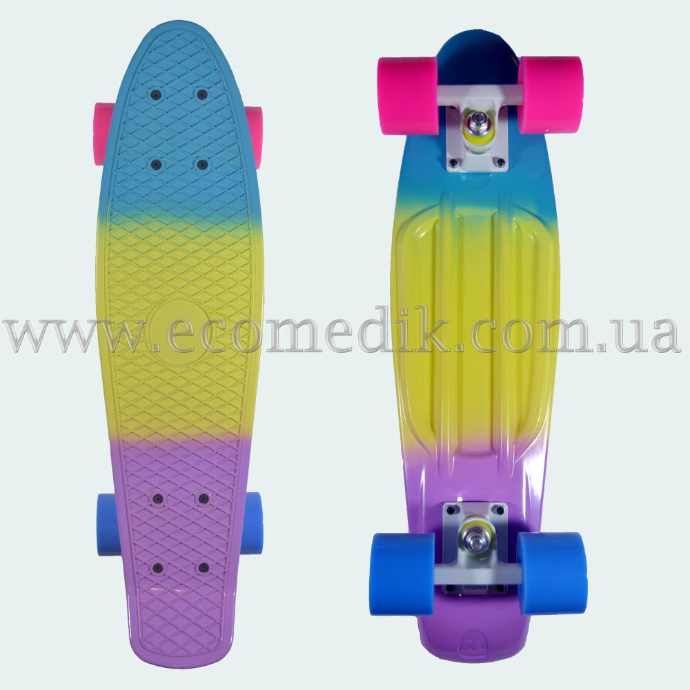"""Стильный скейтборд пенни борд сине-желто-фиолетовый penny board original 22"""""""