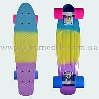 """Стильный скейтборд пенни борд сине-желто-фиолетовый penny board original 22"""", фото 1"""