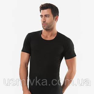 Мужская футболка чёрная кулирка с круглым воротом, Oztas. FO17911005