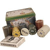Покерный набор на 120 фишек, в металлической упаковке. PN62001