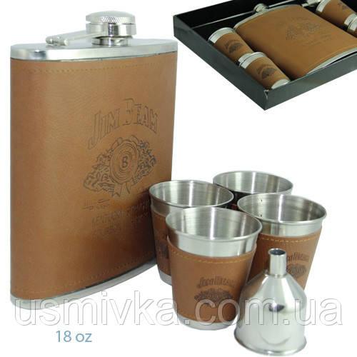 Подарочная фляга (500 мл) Jim Beam в наборе с четырьмя стаканчиками и лейкой. FP61035