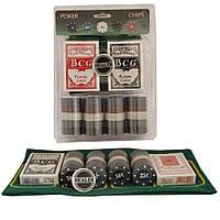 Набор покерный 100 фишек, карты и полотно в блистере PN62007