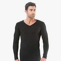 Турецкая футболка рибана черная мыс с длиным рукавом. FO179110071