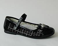 Туфли для девочек Шалунишка арт. 8515 черн цветок (Размеры: 32-36)