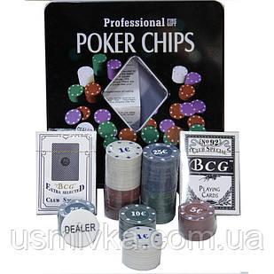 Покерный набор в металлической коробке на 100 фишек 62002