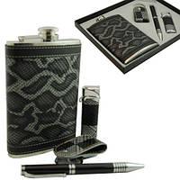 9oz Деловой подарочный набор. Фляга, ручка, зажигалка, брелок. FP91742