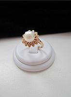 Позолоченное кольцо с жемчужиной, фото 1