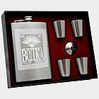 Подарочный набор. Фляга с надписью водка, 4 стаканчика и лейка. 260 мл. FP610065, фото 2