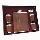 Подарочный набор. Большая фляга  обтянутая кожой 4 стаканчика и лейка. 500мл. F610112, фото 3