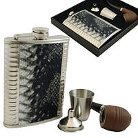 9oz Набор на подарок. Фляга, курительная трубка, стаканчик металл, лейка.