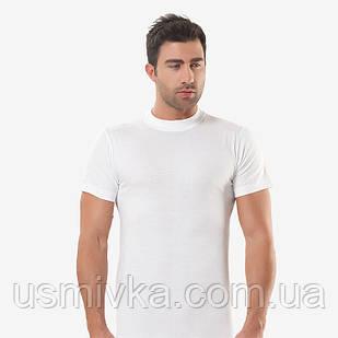 Белая мужская футболка кулирка с круглым воротом. FO17911003