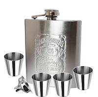 Фляга Jack Daniels в наборе  4 рюмки и лейка.