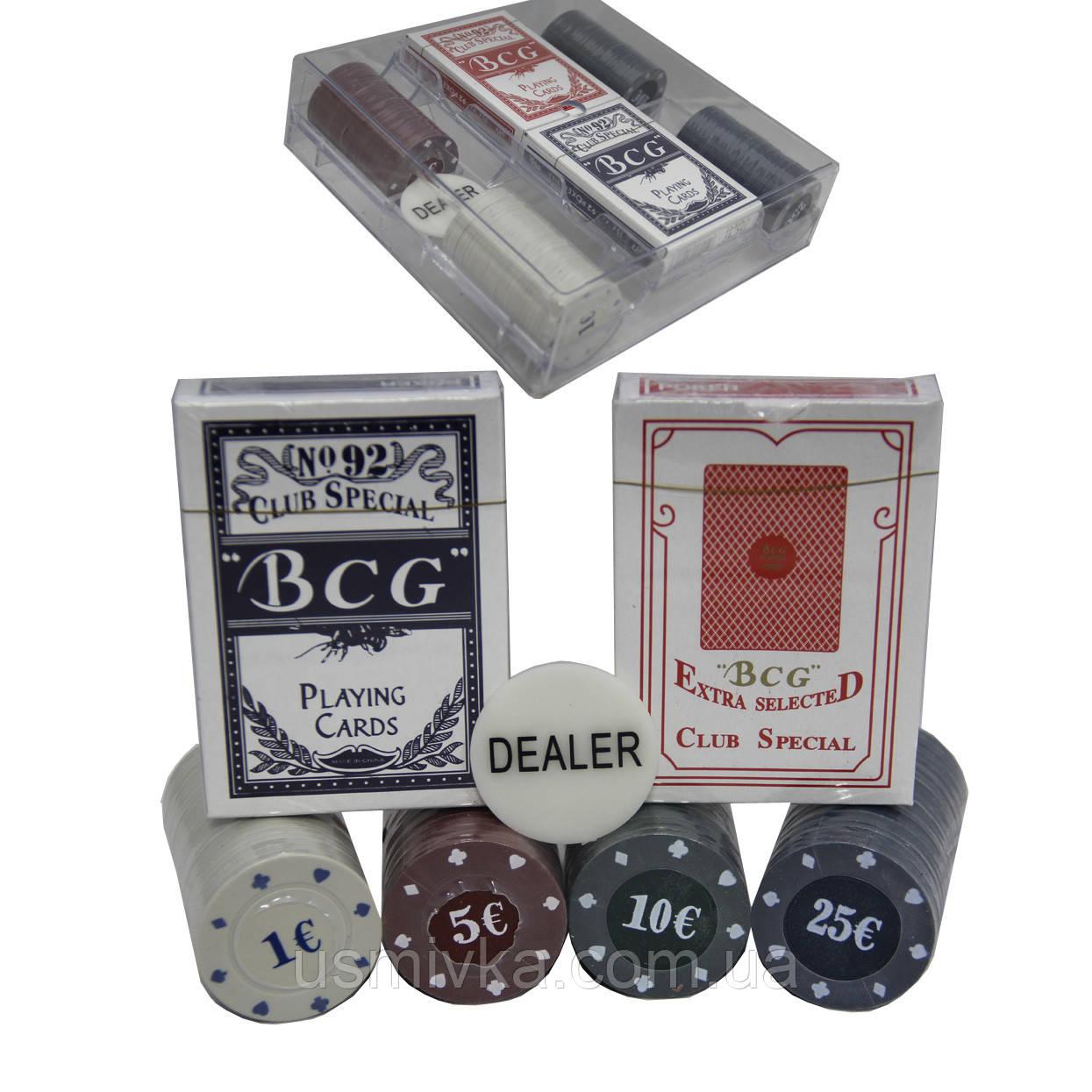 Набор покерный 100 фишек и карты, в подарочной упаковке. PN62008