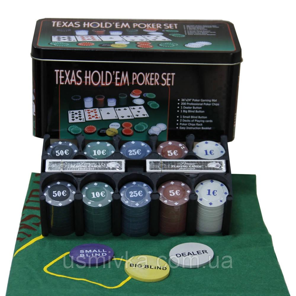 Покерный набор в металлической коробке 200 фишек 62003