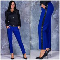 Брюки женские прямые Синее с эко-кожей